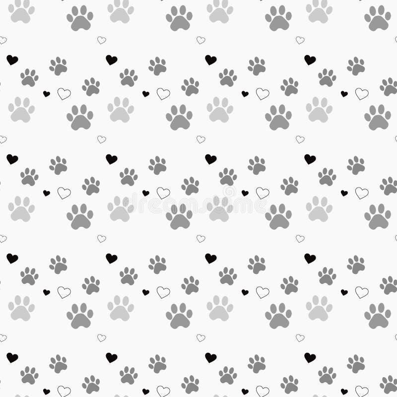 Печать и сердце лапки безшовные Трассировки картины ткани кота Картина следа ноги кота безшовная безшовный вектор иллюстрация штока