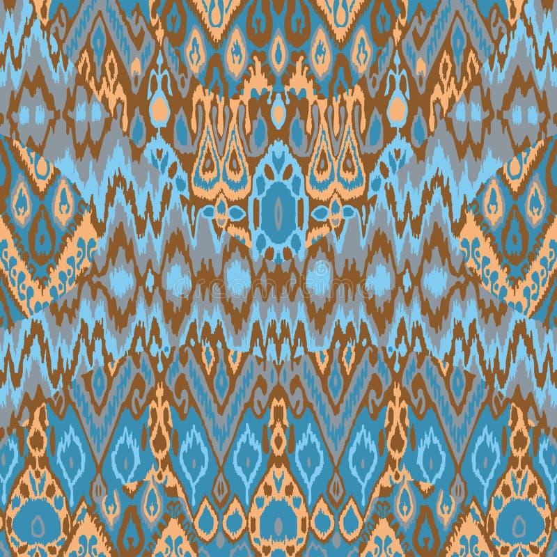 Печать картины арабескы заплатки этническая богемская Безшовное zigz иллюстрация вектора