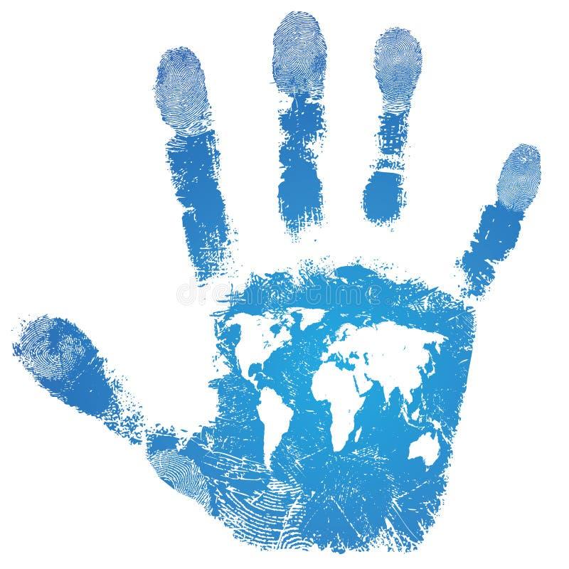Печать карты мира руки иллюстрация штока