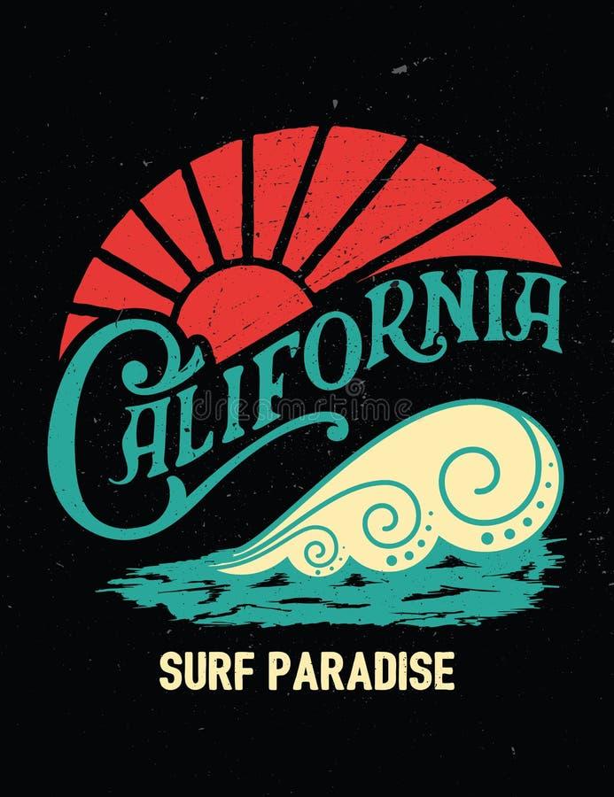 Печать Калифорнии винтажная График прибоя бесплатная иллюстрация