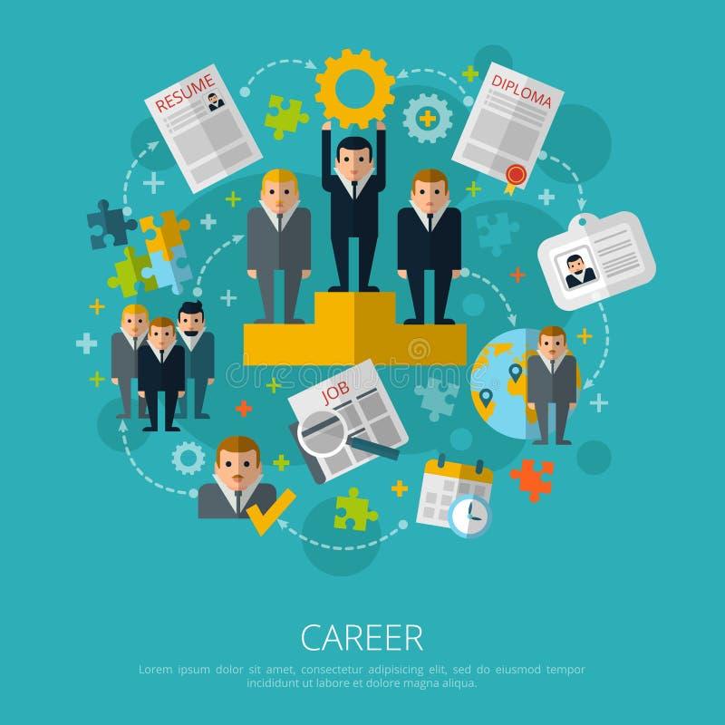 Печать концепции карьеры человеческих ресурсов иллюстрация вектора