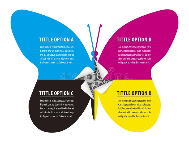 Печать концепции Infographic красит бабочку стикеров иллюстрация вектора