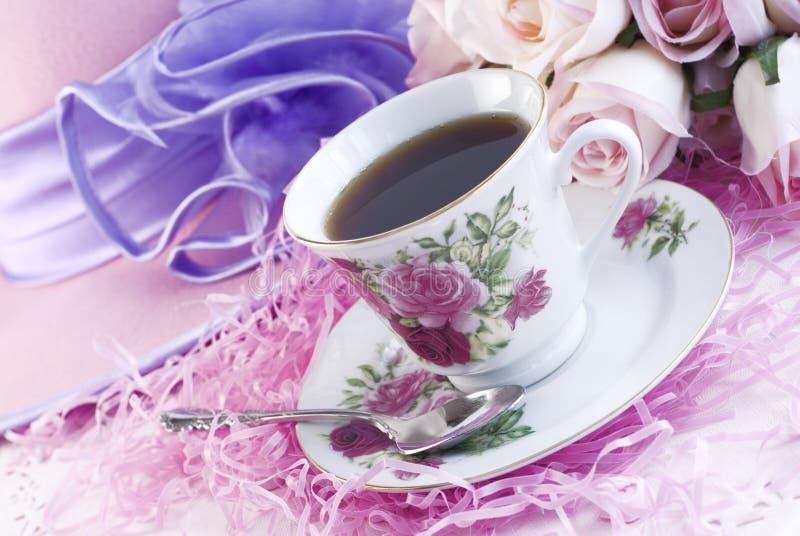 печать кофейной чашки фарфора подняла стоковое изображение rf