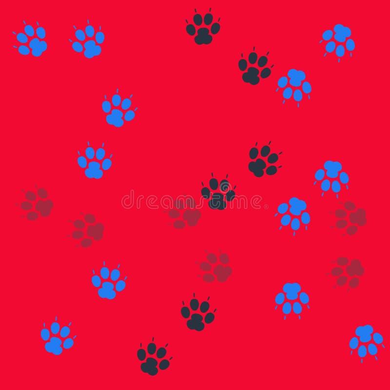Печать лапки безшовная Трассировки картины ткани кота безшовный вектор иллюстрация штока