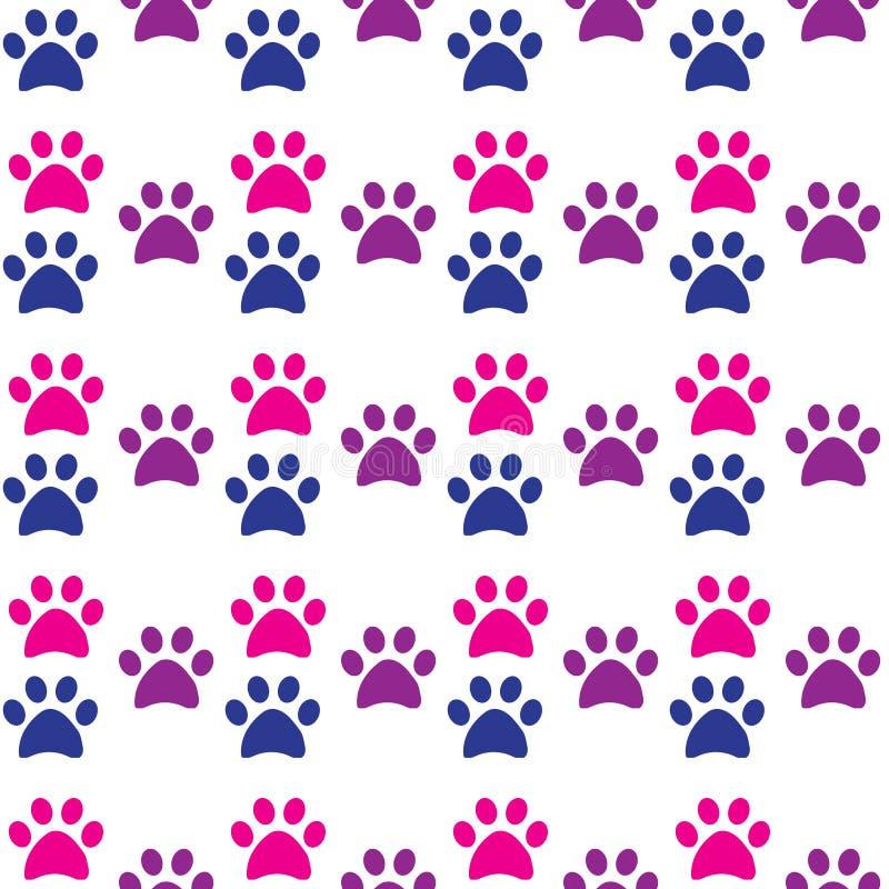 Печать лапки безшовная Трассировки картины ткани кота и собаки бесплатная иллюстрация