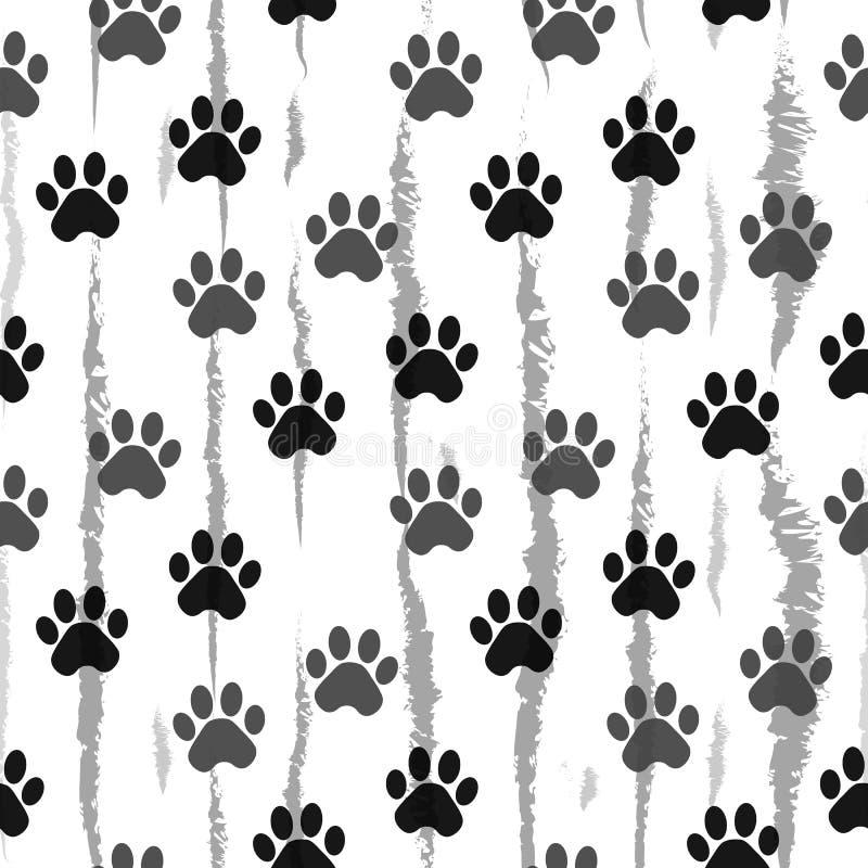 Печать лапки безшовная Трассировки картины ткани кота Картина следа ноги кота безшовная безшовный вектор бесплатная иллюстрация