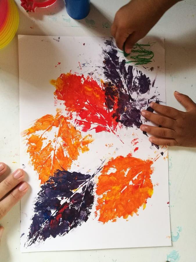 Печать листьев осени стоковое изображение rf
