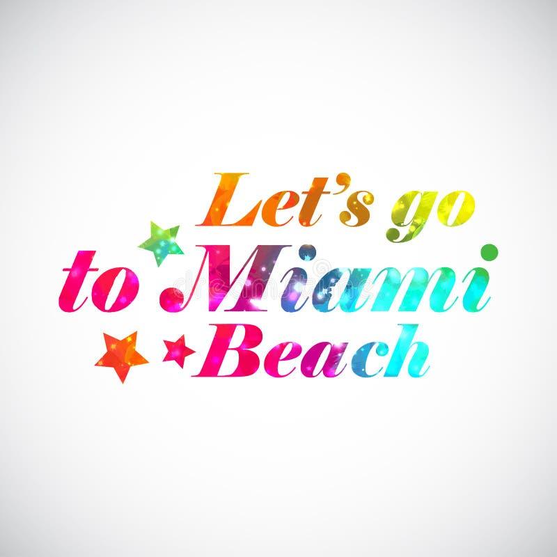Печать Майами лозунга радуги яркая _ иллюстрация штока