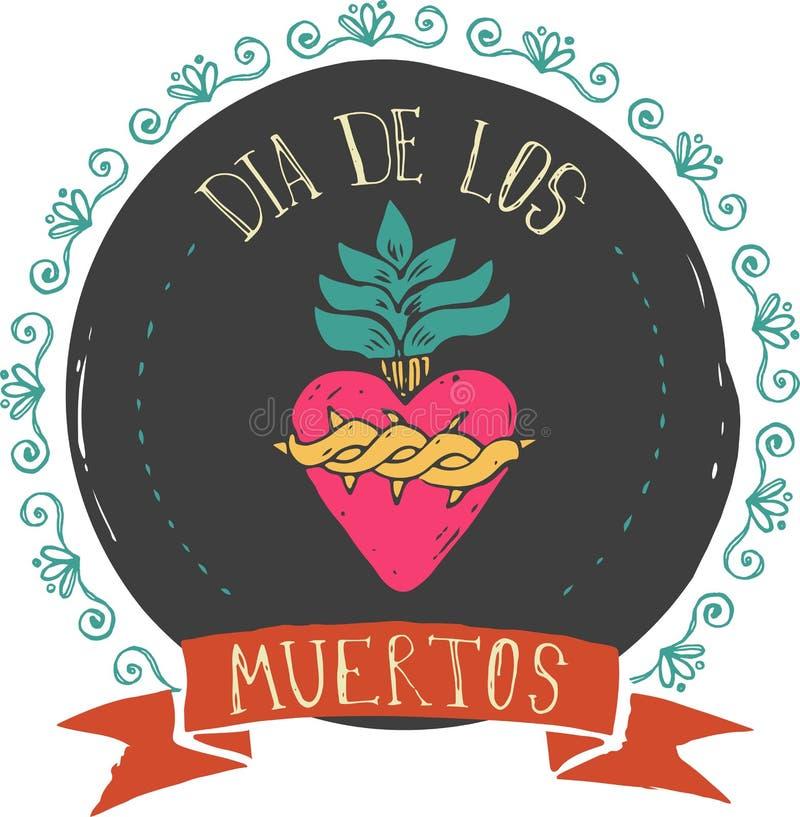 Печать - мексиканское сердце, день умерших бесплатная иллюстрация