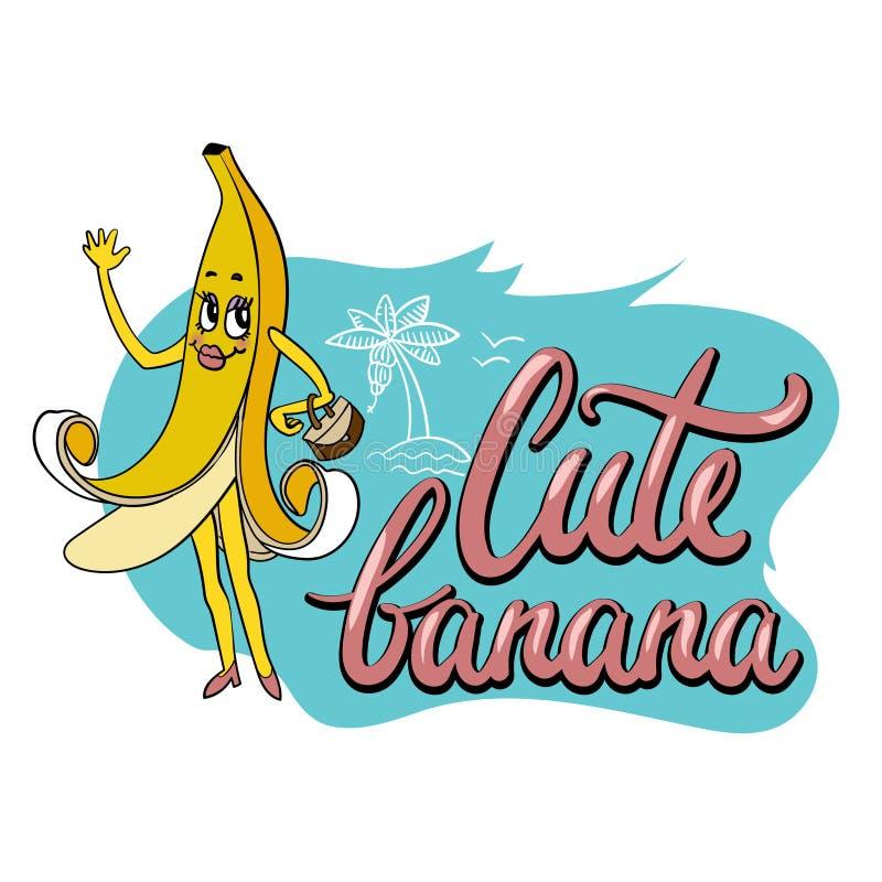 Печать милой необыкновенной руки вычерченная для ткани со смешным персонажем из мультфильма банана и написанного рукой примечания иллюстрация вектора