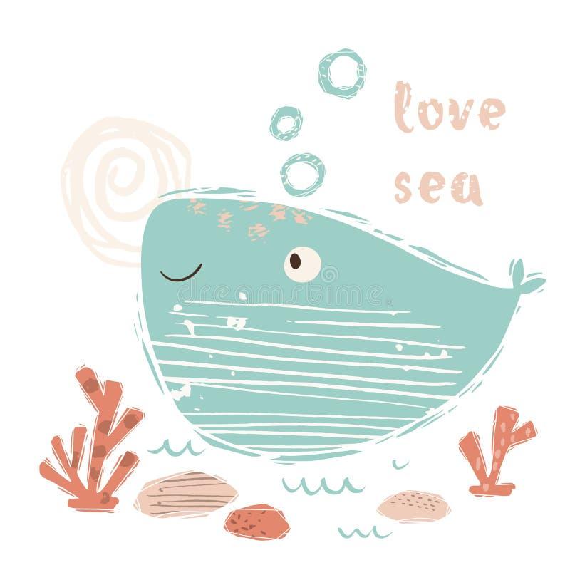 Печать младенца кита милая Сладкое морское животное Море любов - лозунг текста иллюстрация вектора