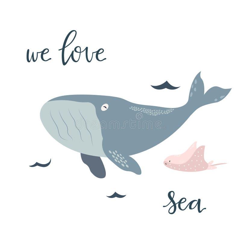 Печать младенца с синим китом График нарисованный рукой иллюстрация штока