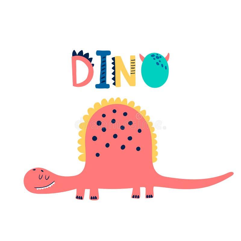 Печать младенца с Dino График руки вычерченный для плаката оформления, карты, ярлыка, летчика, страницы, знамени, носки младенца, иллюстрация вектора