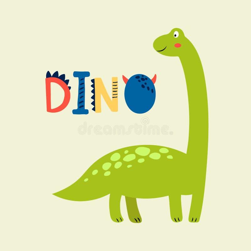 Печать младенца с Dino График руки вычерченный для плаката оформления, карты, ярлыка, летчика, страницы, знамени, носки младенца, иллюстрация штока