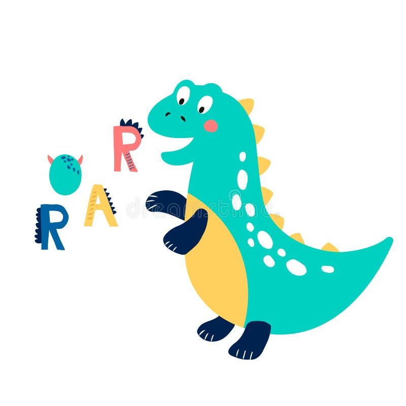 Печать младенца с Dino: Рык График руки вычерченный для плаката оформления, карты, ярлыка, летчика, страницы, знамени, носки млад бесплатная иллюстрация