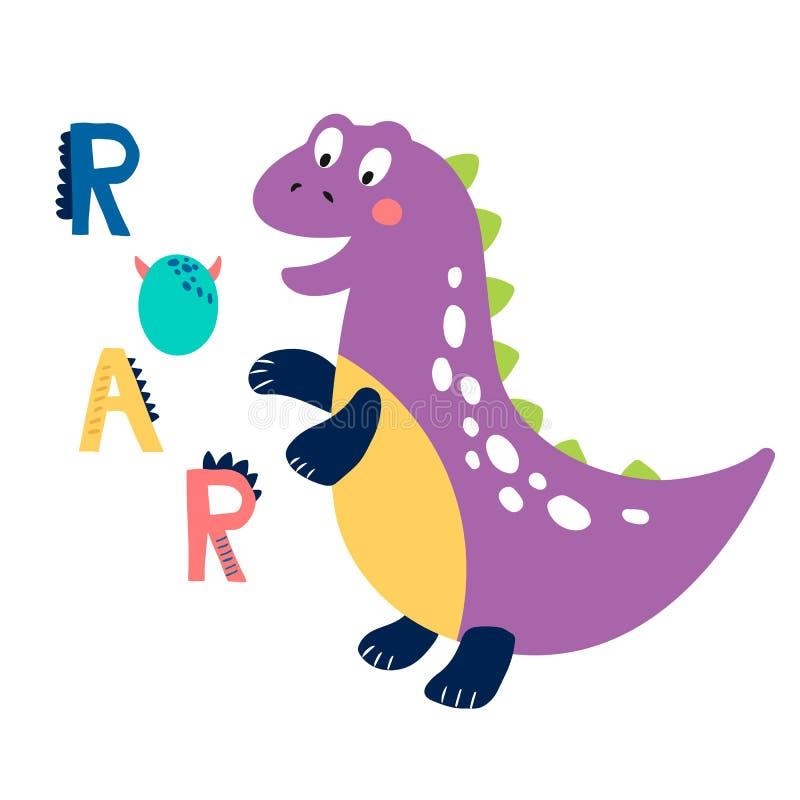Печать младенца с Dino: Рык График руки вычерченный для плаката оформления, карты, ярлыка, летчика, страницы, знамени, носки млад иллюстрация вектора