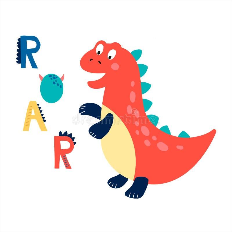 Печать младенца с Dino: Рык График руки вычерченный для плаката оформления, карты, ярлыка, летчика, страницы, знамени, носки млад иллюстрация штока