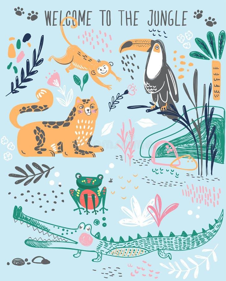 Печать моды милая для футболки или домашняя носка, пижамы с тропическими дикими животными, заводами, помечая буквами welco иллюстрация штока