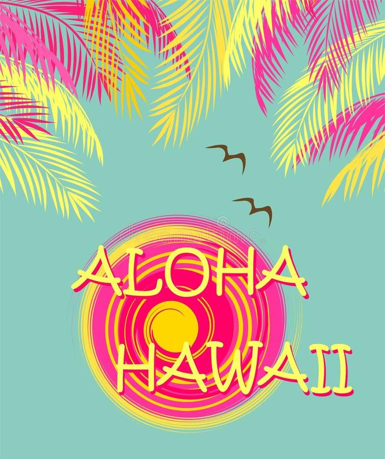 Печать моды футболки с Aloha литерностью Гаваи, листьями ладони, чайкой и солнцем Плоский дизайн иллюстрация вектора