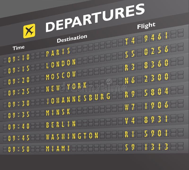 Печать доски авиапорта иллюстрация штока