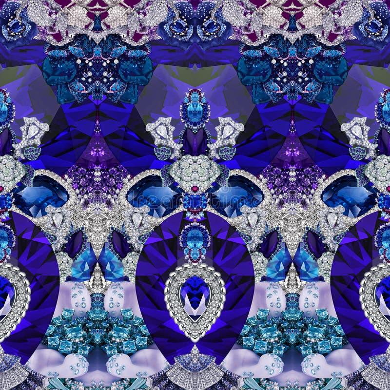 Печать оформления с геометрией, камнями, диамантами, кристаллами, цветками, сапфиром и украшениями стоковое фото