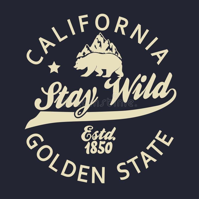 Печать оформления Калифорнии, футболка гризли вектор бесплатная иллюстрация