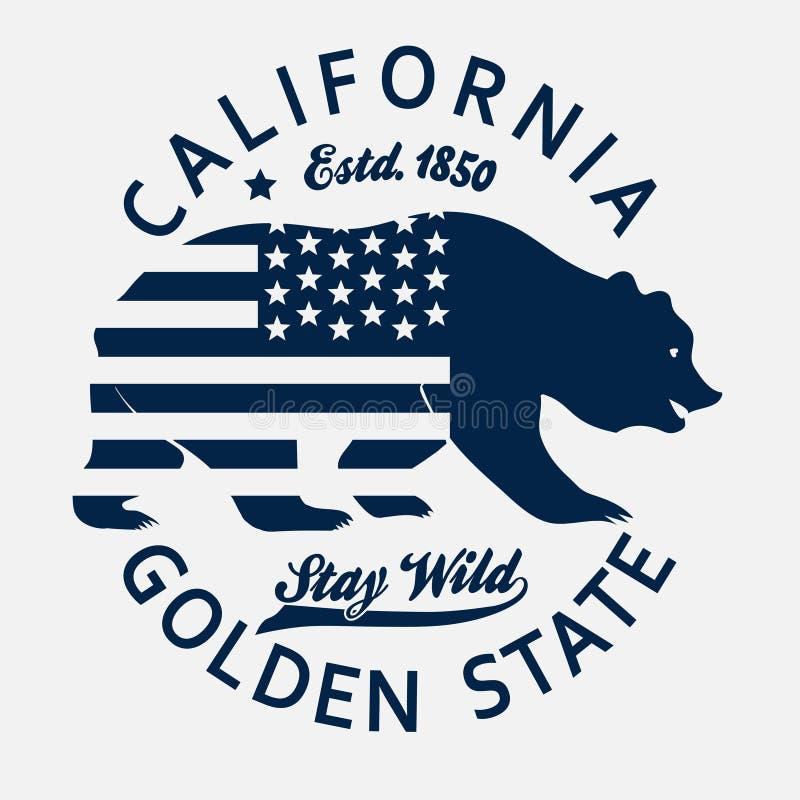 Печать оформления Калифорнии, футболка гризли вектор иллюстрация вектора