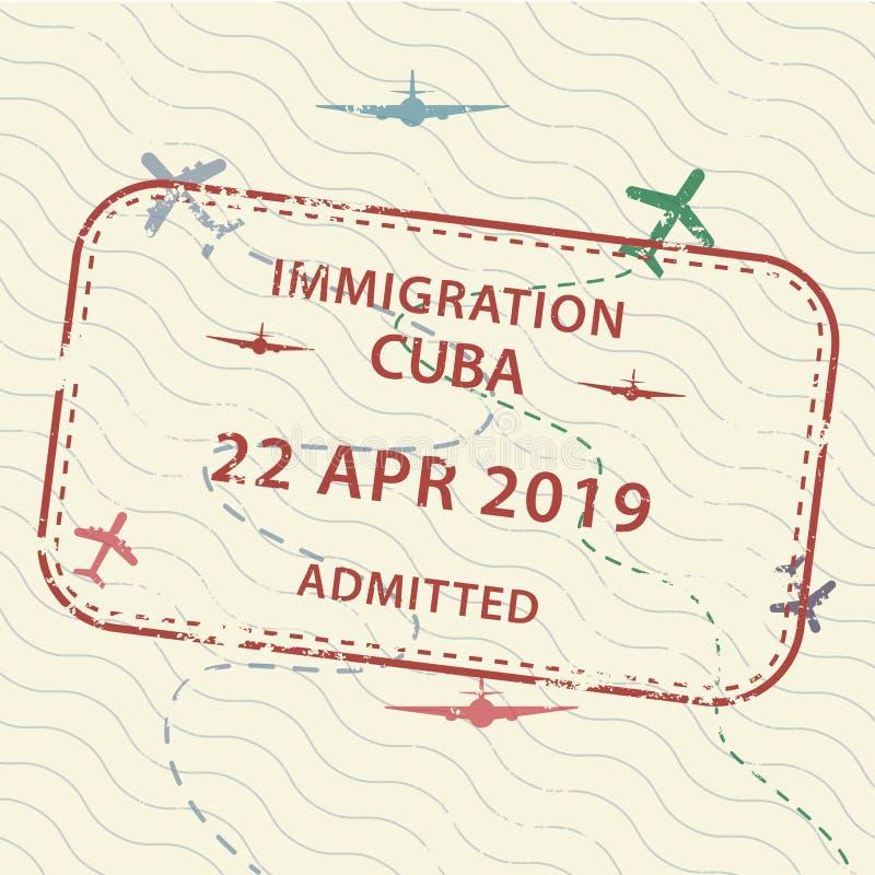 Печать паспорта визы к Кубе иллюстрация штока