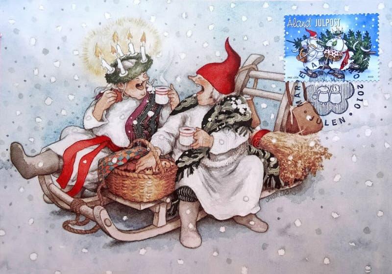 Печать почтового сбора напечатанная в изображении островов Aland рождества иллюстрация штока