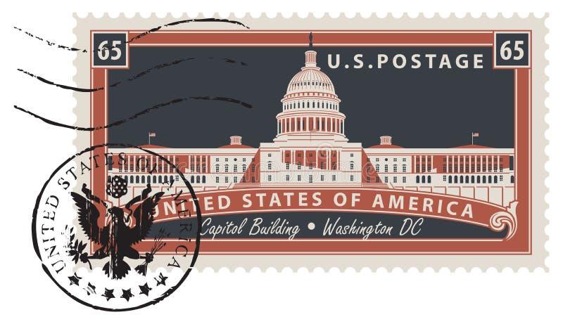 Печать почтового сбора с изображением капитолия США иллюстрация штока