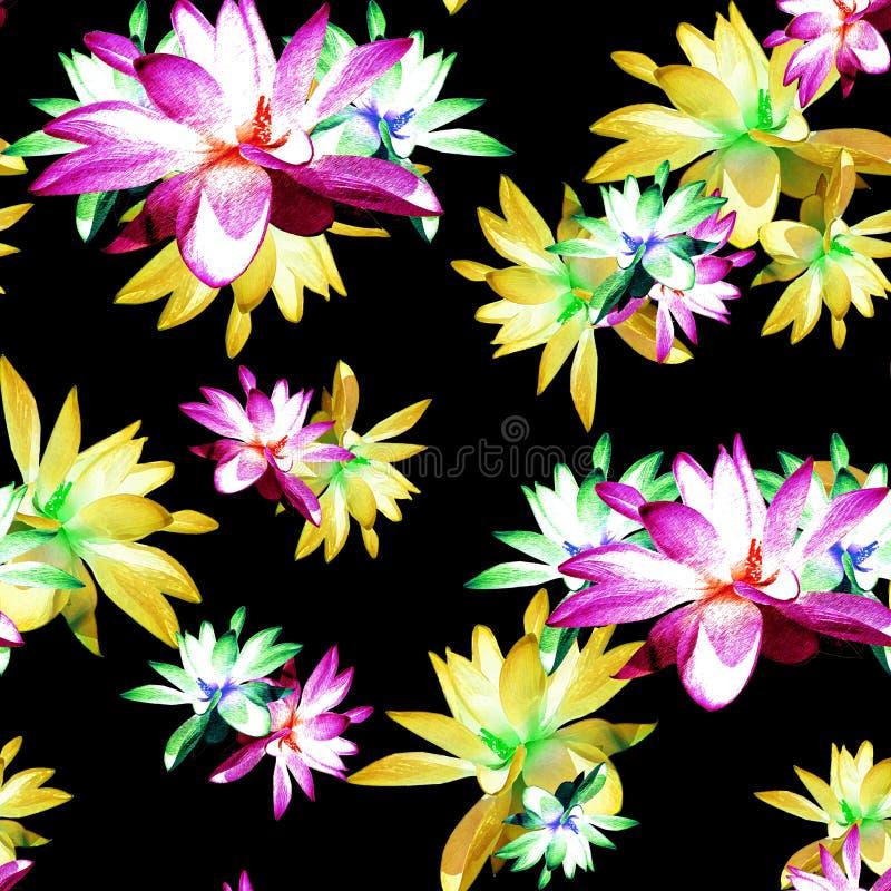Печать разбросанная лотосом флористическая в Multicolour стоковые фотографии rf