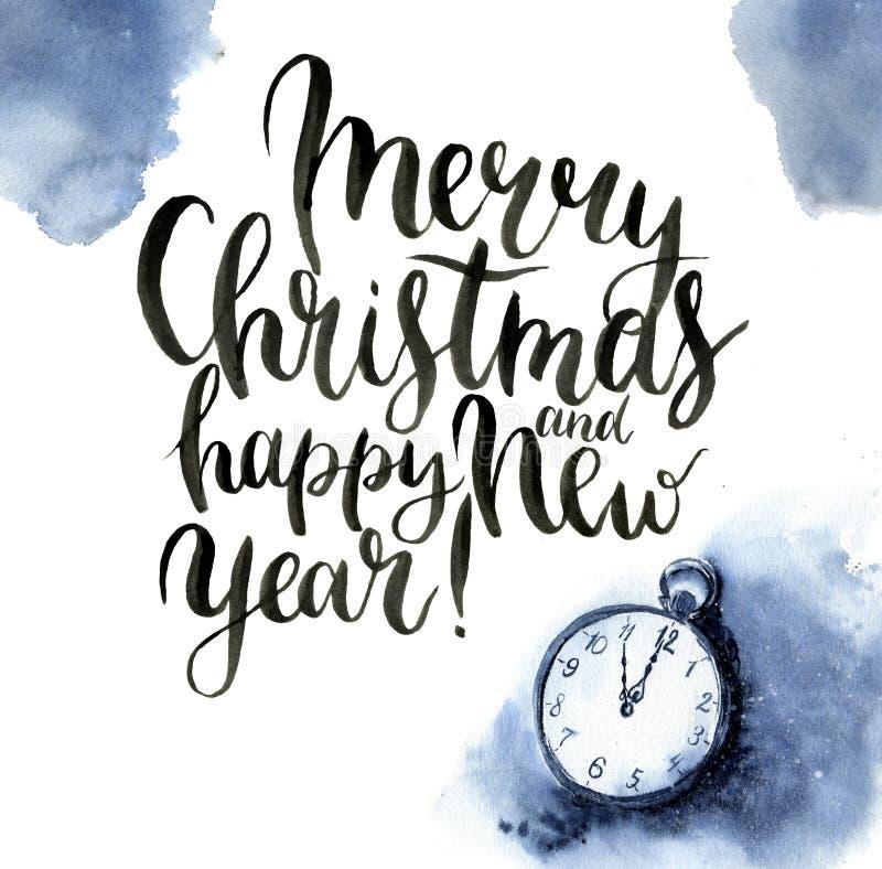 Печать рождества акварели с винтажными часами и литерностью Иллюстрация рождества с снегом, карманные вахта и веселый иллюстрация вектора
