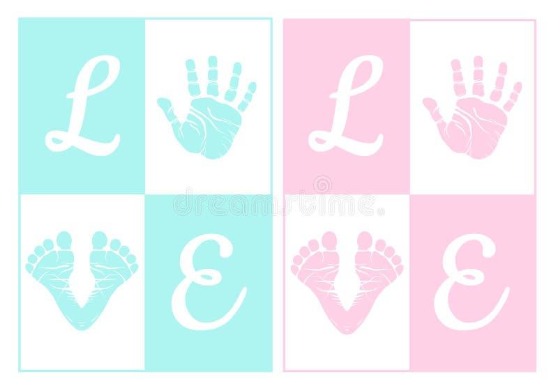 Печать руки младенца, след ноги, комплект вектора иллюстрация штока