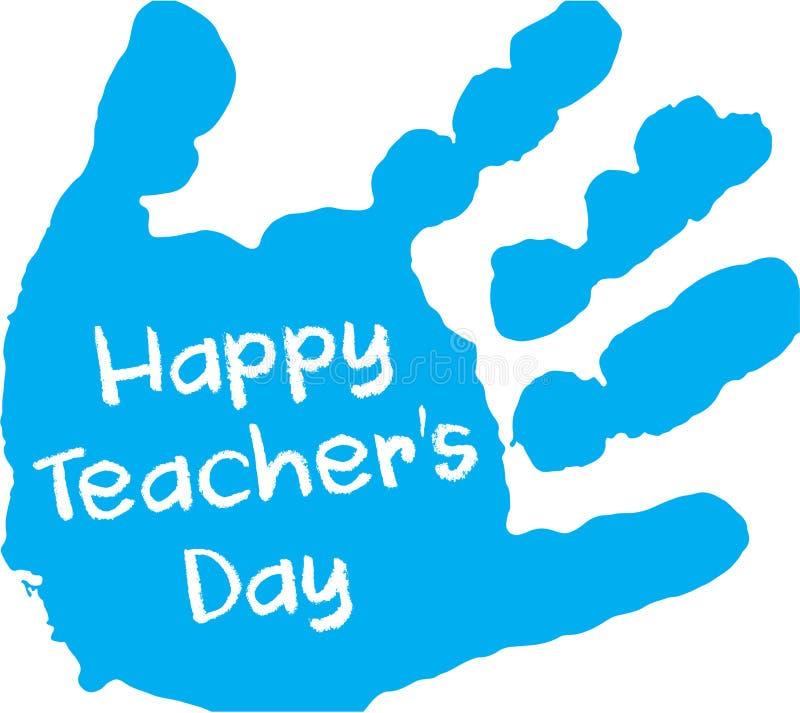 Печать руки счастливого дня ` s учителя голубая стоковое изображение rf