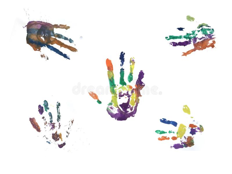 Печать руки с акварелью стоковые фотографии rf
