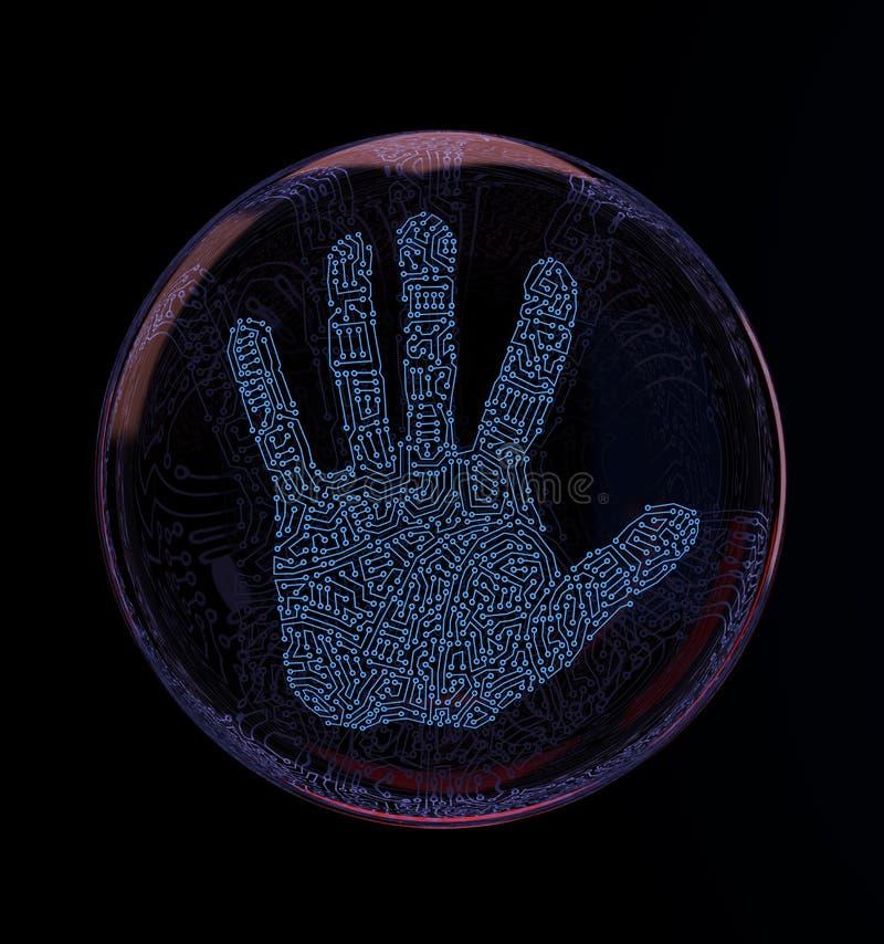 Печать руки цифров иллюстрация штока