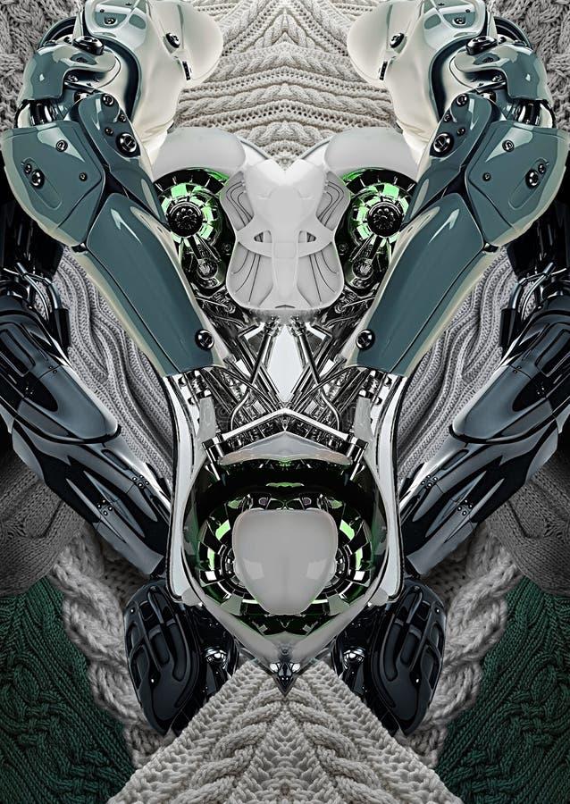 Печать современного искусства с роботом, вязать, автомобилем концепции и мотор-велосипедом стоковые фото