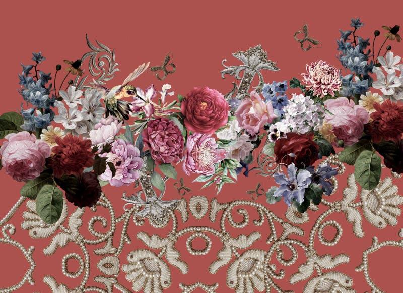 Печать стиля вышивки цветов цветков стоковое фото