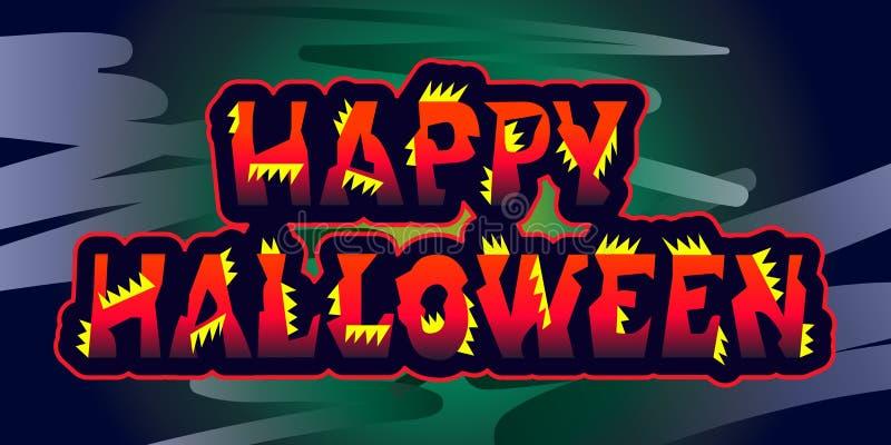 Печать счастливым приветствиям праздника знака хеллоуина первоначально Иллюстрация вектора для приглашения к пиршеству бесплатная иллюстрация
