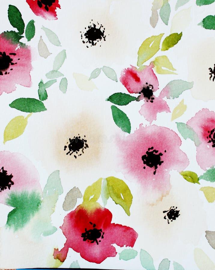 Печать с абстрактными цветками и листьями акварели иллюстрация штока