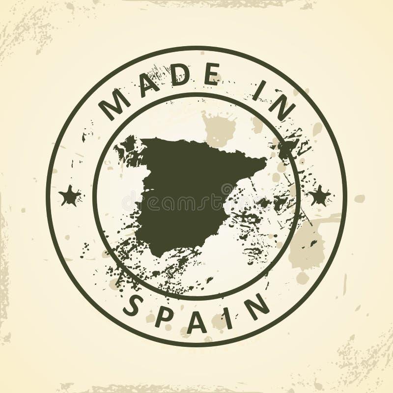 Печать с картой Испании иллюстрация штока