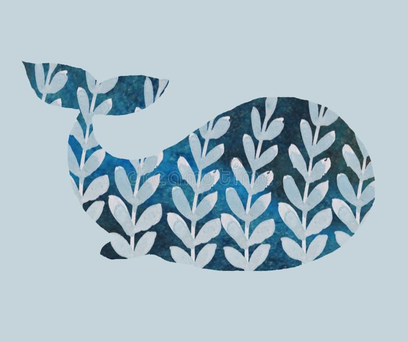 Печать с китом иллюстрация вектора