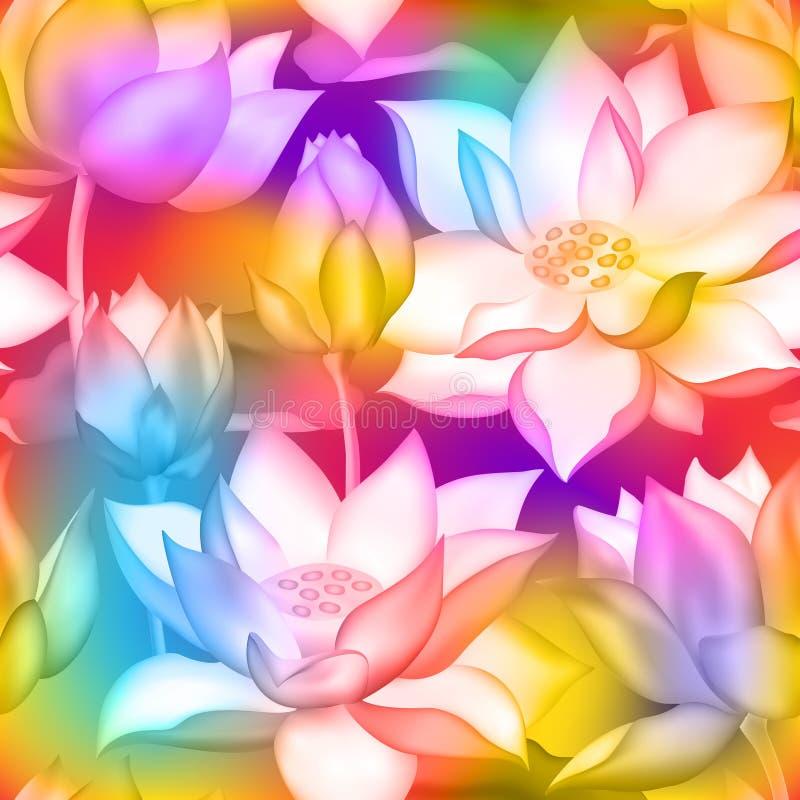 Печать ткани бутонов и цветков лотоса безшовная , Воды комплексное конструирование аквариумного растени nelumbo lilly иллюстрация вектора
