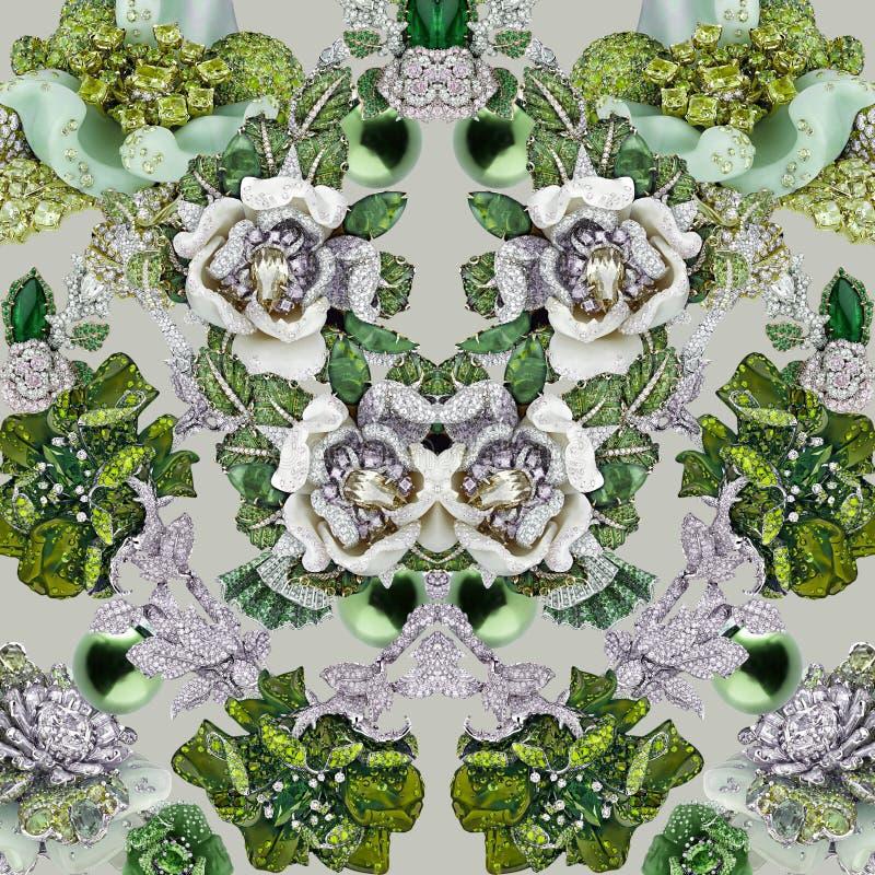 Печать топаза с камнями, диамантами, кристаллами, цветками, сапфиром и украшениями стоковое изображение