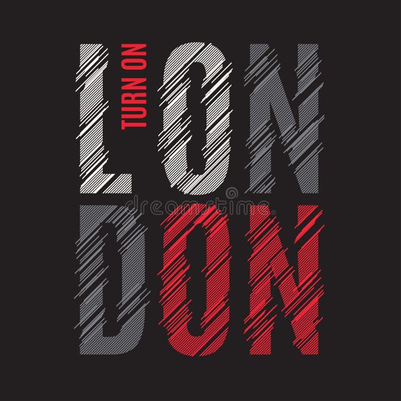 Печать тройника Лондона Оформление ярлыка штемпеля графиков дизайна футболки иллюстрация штока