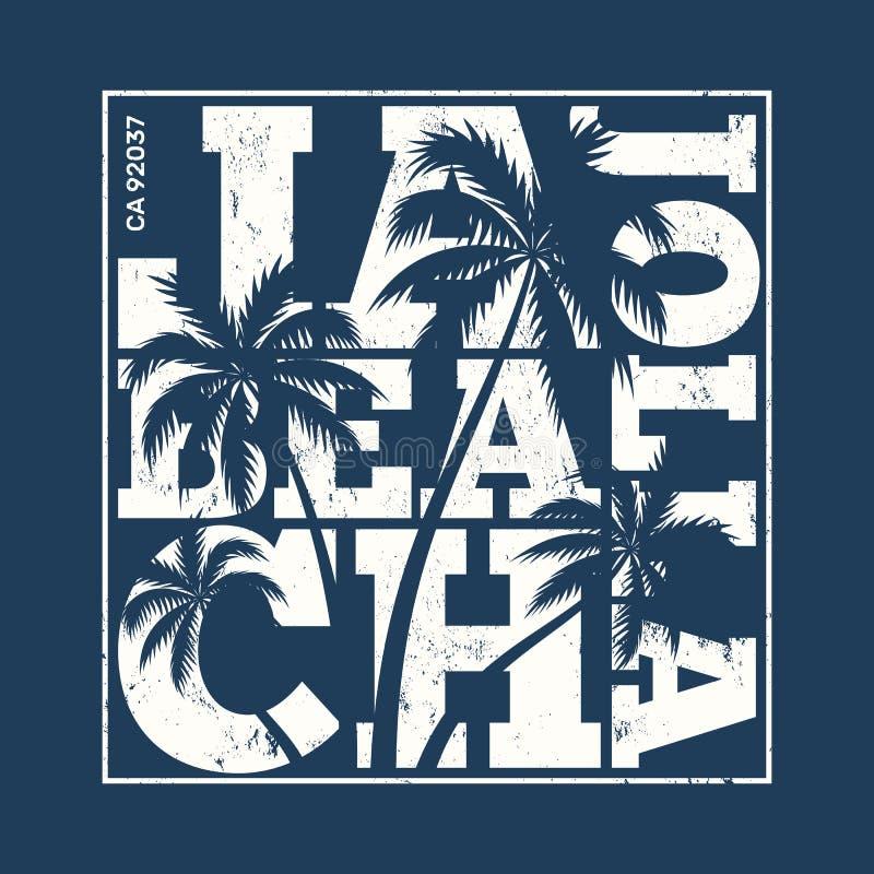 Печать тройника La Jolla с пальмами Дизайн футболки, графики, st иллюстрация штока