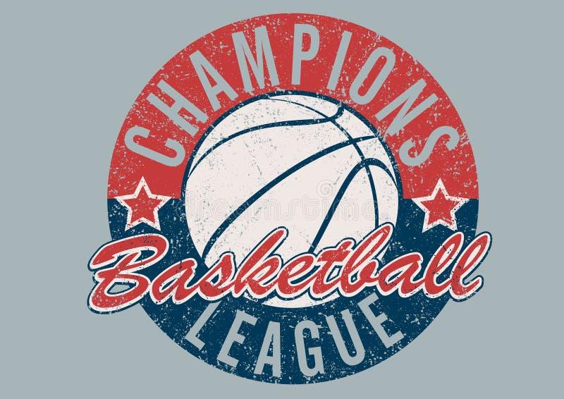 Печать чемпионов баскетбола огорченная лигой иллюстрация штока
