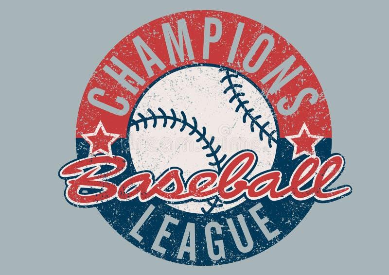 Печать чемпионов бейсбола огорченная лигой иллюстрация вектора