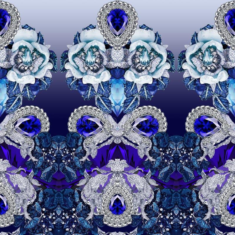 Печать ювелирных изделий с камнями, диамантами, кристаллами, цветками, сапфиром и украшениями стоковые изображения rf