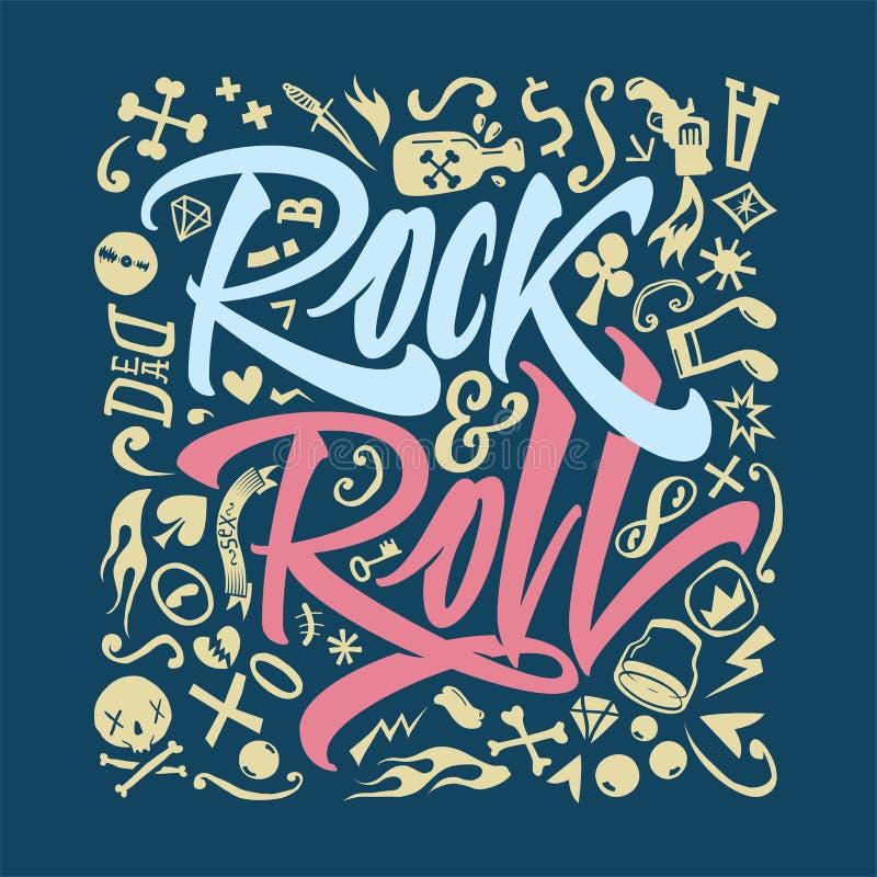 Печать для футболки рок-н-ролл иллюстрация штока